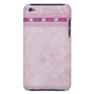 Pink Lace Ribbon & Diamonds Barely There iPod Cover