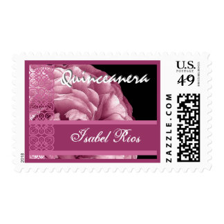 PINK Lace Rose Quinceanera - Custom Name Postage