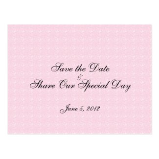 Pink Lace Save the Date Postcard