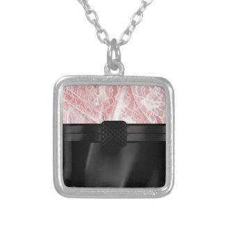 Pink Lace Silk Monogram Square Pendant Necklace