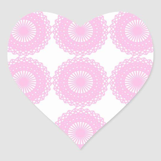 Pink Lace Style Design. Heart Sticker
