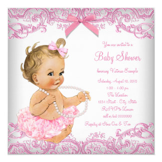 Pink Lace Tutu Girl Baby Shower Card