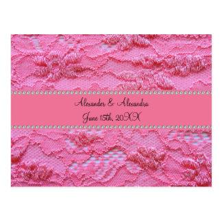 Pink lace wedding favors postcard