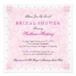 Pink Lace & White Pearls Bridal Shower  Invite Announcements