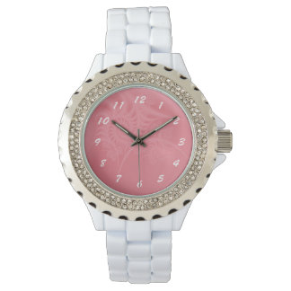 Pink Lace, White Rhinestone Watch