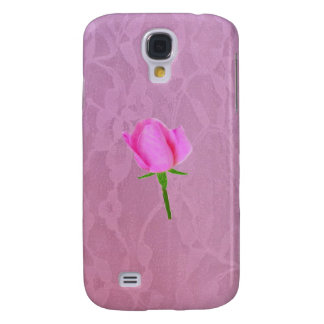 Pink Lace with Pink Rose Galaxy S4 Case