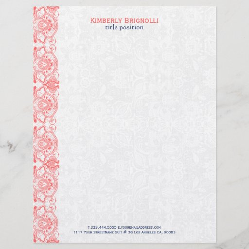 Pink Lace With White Damasks Letterhead