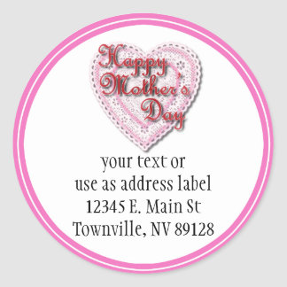 Pink Laced Heart for Mother's Day Classic Round Sticker