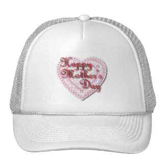 Pink Laced Heart for Mother's Day Mesh Hats
