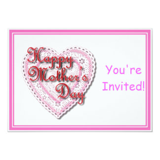 """Pink Laced Heart for Mother's Day 5"""" X 7"""" Invitation Card"""