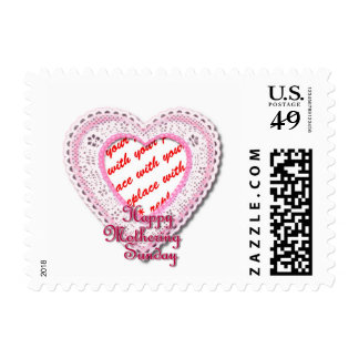 Pink Laced Heart Mothering Sunday Photo Frame Stamp