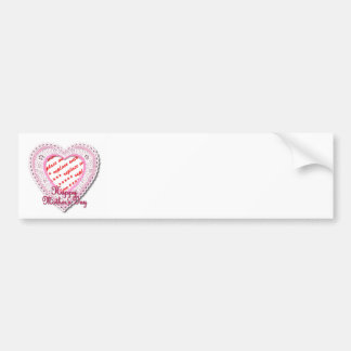 Pink Laced Heart Mother's Day Photo Frame Car Bumper Sticker