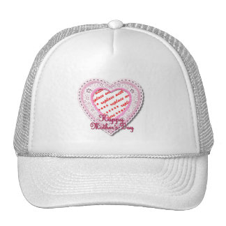 Pink Laced Heart Mother's Day Photo Frame Trucker Hat