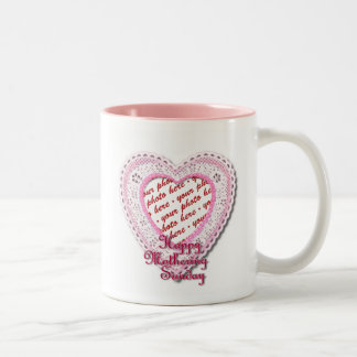 Pink Laced Heart Mother's Day Photo Frame Mug