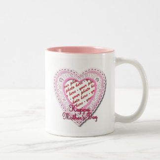 Pink Laced Heart Mother's Day Photo Frame Mugs