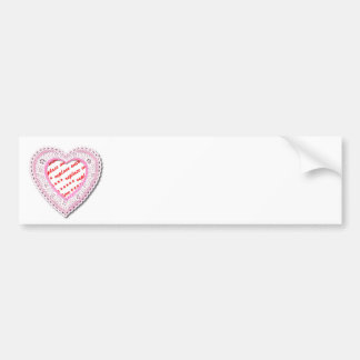 Pink Laced Heart Photo Frame Car Bumper Sticker