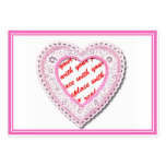 Pink Laced Heart Photo Frame Business Card Templates