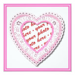 """Pink Laced Heart Photo Frame 5.25"""" Square Invitation Card"""