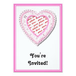 """Pink Laced Heart Photo Frame 5"""" X 7"""" Invitation Card"""
