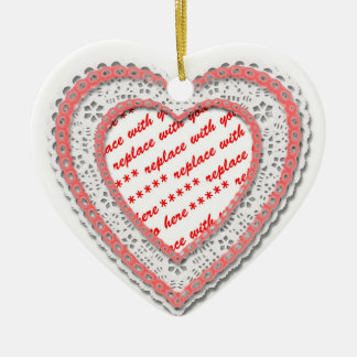Pink Laced Heart Photo Frame Christmas Ornament