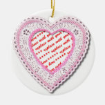 Pink Laced Heart Photo Frame Christmas Tree Ornaments