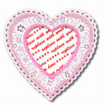 Pink Laced Heart Photo Frame Photo Cutouts