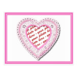 Pink Laced Heart Photo Frame Postcard