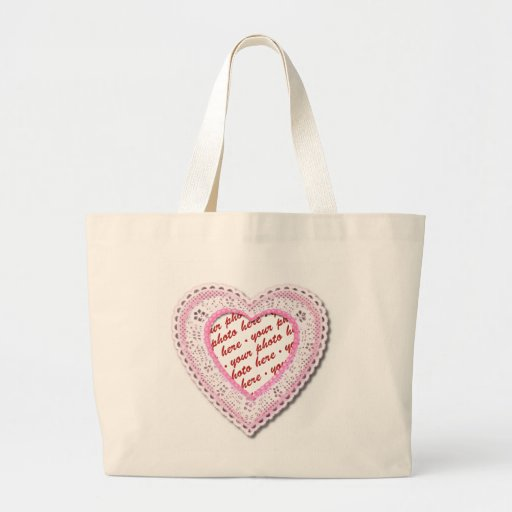 Pink Laced Heart Photo Frame Tote Bags