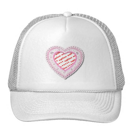 Pink Laced Heart Photo Frame Trucker Hat