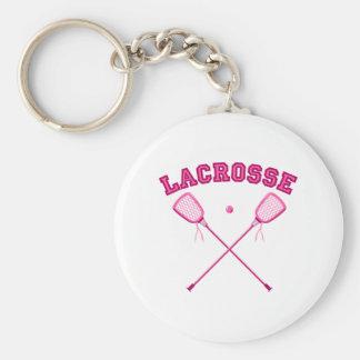 Pink Lacrosse Logo Keychain
