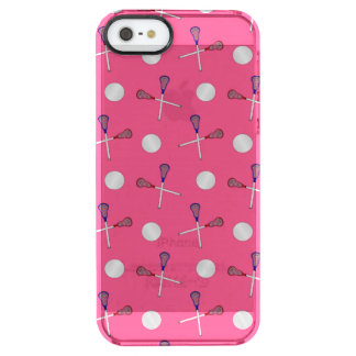 Pink lacrosse pattern uncommon clearly™ deflector iPhone 5 case