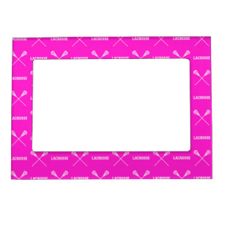 Pink Lacrosse Sticks Magnetic Picture Frame