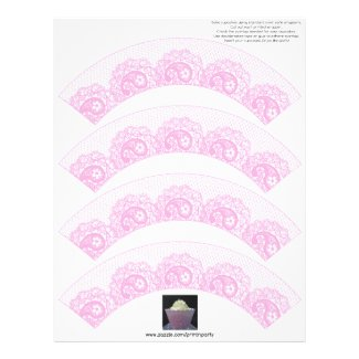 Pink Lacy Cupcake Wrapper Customized Letterhead