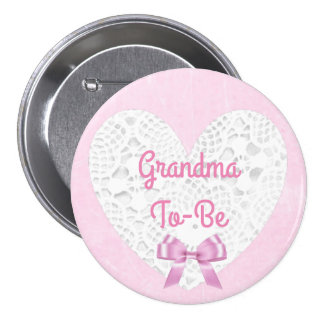 Pink Lacy Grandma To Be Baby Shower Button