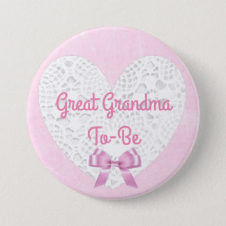 Pink Lacy Great Grandma To Be Baby Shower Button