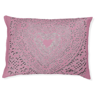 PINK LACY HEART LOVE/araartist(c) Large Dog Bed