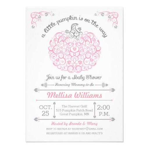 Pink Lacy Little Pumpkin Baby Shower Invitation