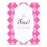 "Pink Ladies Golf Party Argyle 4.25"" X 5.5"" Invitation Card"