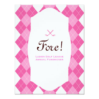 Pink Ladies Golf Party Argyle 4.25x5.5 Paper Invitation Card