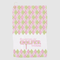 Pink ladies golfer argyle personalized towel