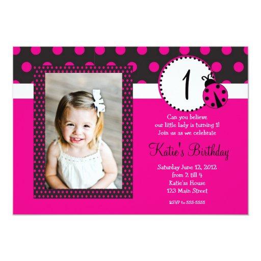 Pink Lady Bug Birthday Invitation