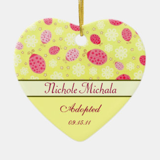 Pink Lady Bug Heart Shaped Adoption Announcement Ceramic Ornament