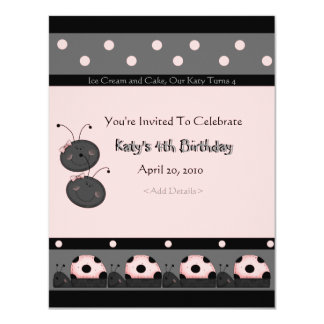 Pink Lady Bug Invitations with Pink Polka Dots