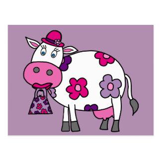 Pink Lady Daisy Cow Postcard