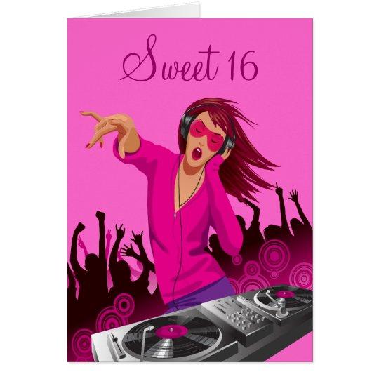 Pink Lady DJ Sweet 16 Card