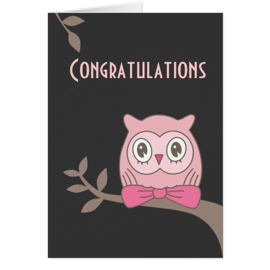 Pink lady owl congratulations card