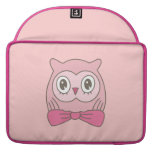 Pink lady owl with bow tie MacBook pro sleeves