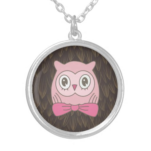 Pink Lady Owl with Bow Tie Pendants