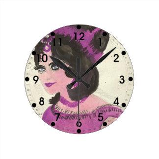 Pink Lady Round Clock