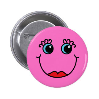 Pink Lady Smiley Face Button